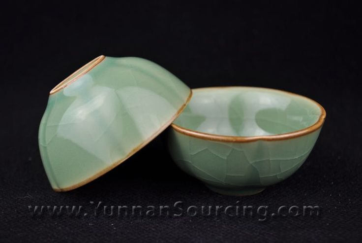 Cracked Celadon Turquoise 50ml Cups * Set of 2
