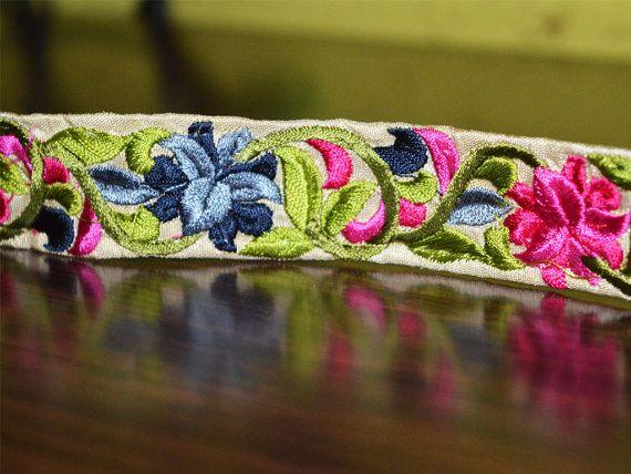 Embroidered Trim Multi Colored Floral Design Silk Sari border, Indian Border, Silk Fabric Designer Sewing Trim Fashion Trim By The Yard
