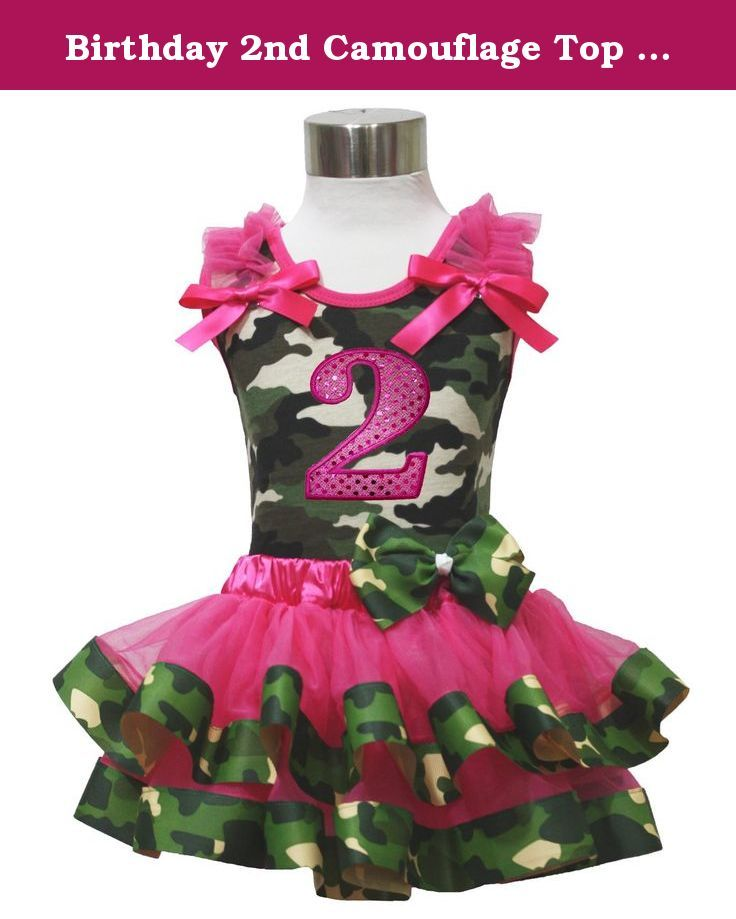 Birthday 2nd Camouflage Top Shirt Hot Pink Satin Trim Girl Skirt Set Nb-8y (1-3year). product includes: a skirt, a shirt (not include other accessory) size chart: shirt - sizes S(1-3 year), chest(circumference): 40-51cm, shirt length: 37cm sizes M(4-5 year), chest(circumference): 46-56cm, shirt length: 42cm sizes L(6-8 year), chest(Circumference): 51-61cm, shirt length: 47cm skirt - sizes S(1-3 year), waist(circumference): 42-50cm, skirt length: 23cm sizes M(4-5 year)…