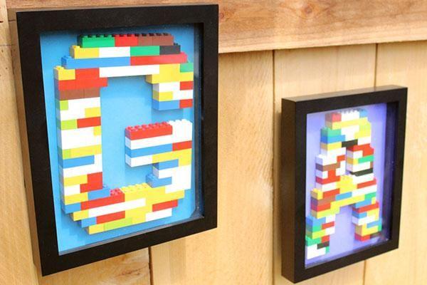 Lego Initials in Shadowbox Frame Ideas