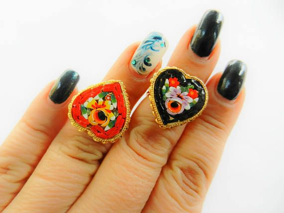 A special pair of micro mosaic Heart shaped rings ITALY