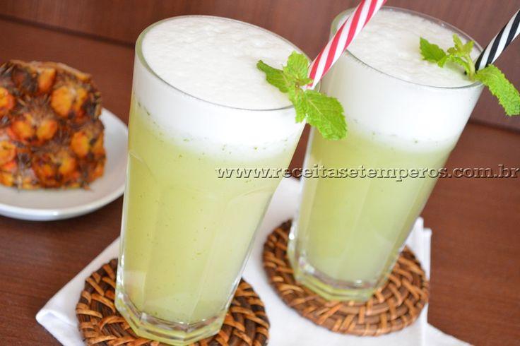 Suco de Abacaxi com hortelã | Receitas e Temperos