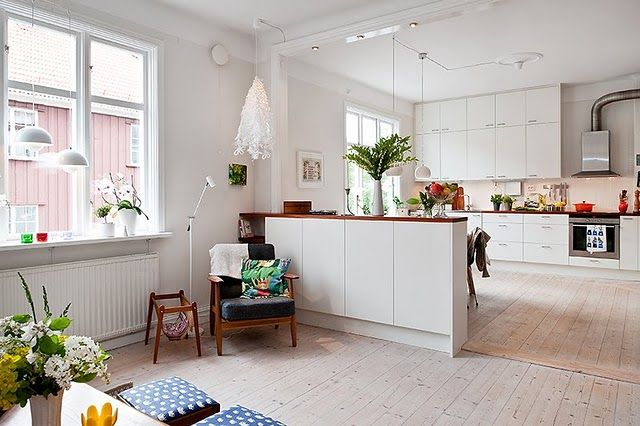 Large open plan kitchen dining area