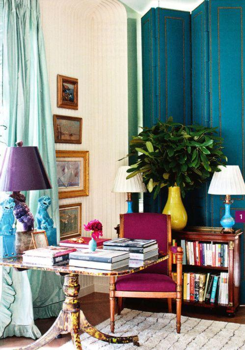 Excuse me, is that a tortoise TABLE!? Cool.: Interior, Idea, Jewel Tones, Colors, Livingroom, Living Room, Miles Redd
