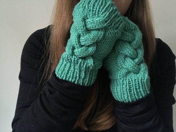 Knit Gloves  Womens Gloves  Womens Knit Gloves  by thelittlefoxes