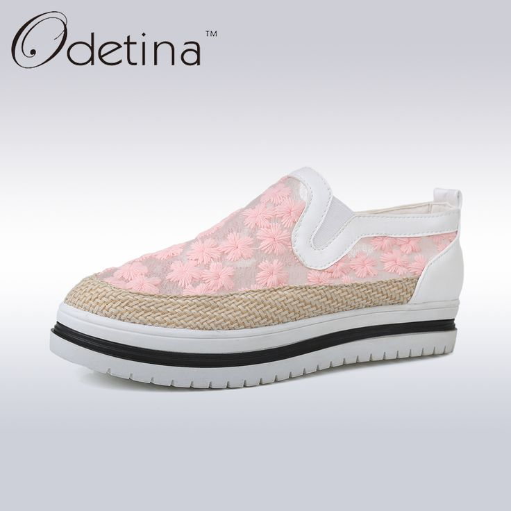Odetina 2017 Casual Shoes Mesh Slip-on Flats Ladies Espadrilles Woman Loafers Platform Summer Shoes Embroider Floral Round Toe