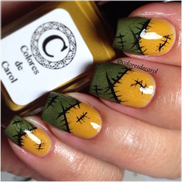 Fall Scare Crow Nail Art von coloresdecarol #patches #polish #stitches #october # …   – nails ♡