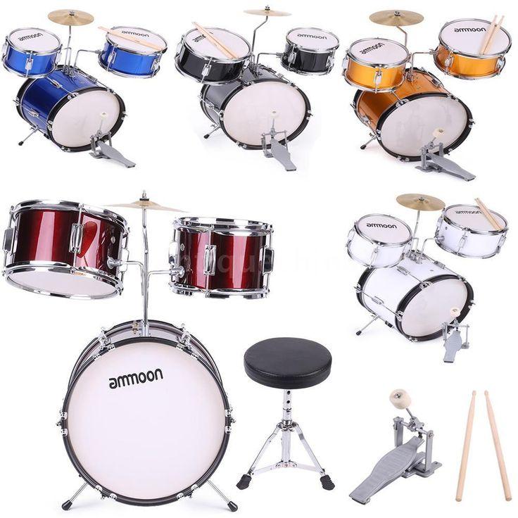 3 Piece Kids Child Junior Drum Set with Sticks StoolBlue Black White HOT Y5W0