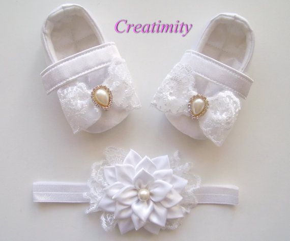 Baby girl shoeschristening baby shoesbaby baptism by Creatimity