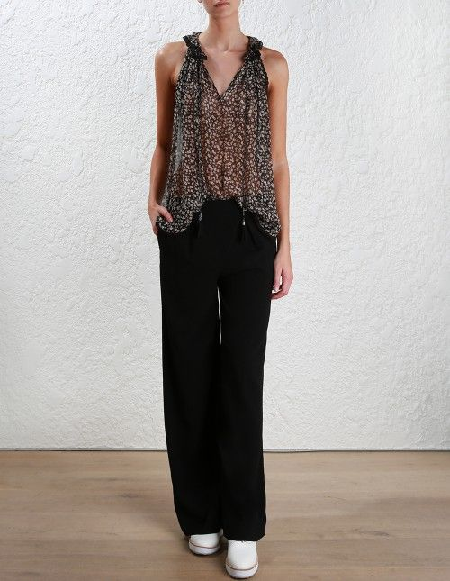 Zimmermann Cavalier Frill Neck Tank. Model Image. Our model is 5 8 and is wearing a size 0
