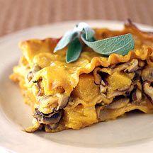 Pumpkin sage and mushroom lasagne
