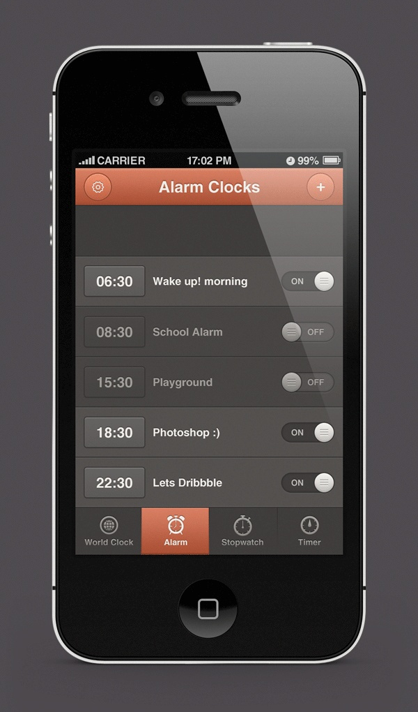 iPhone Alarm Clocks App Design by Waseem Arshad, via Behance