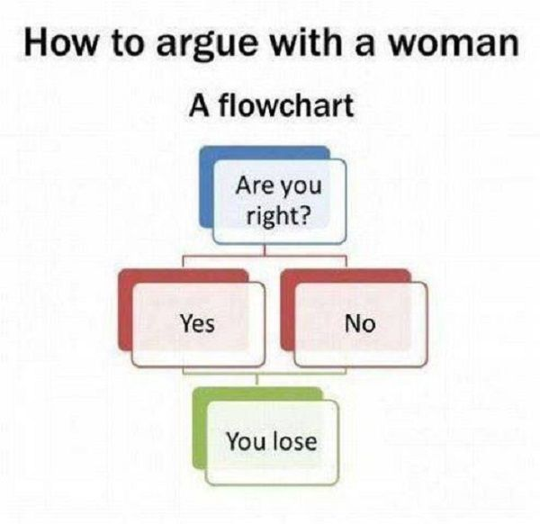 Flowchart To Win Arguments With Women! http://techmash.co.uk/2013/10/11/flowchart-to-win-arguments-with-women/