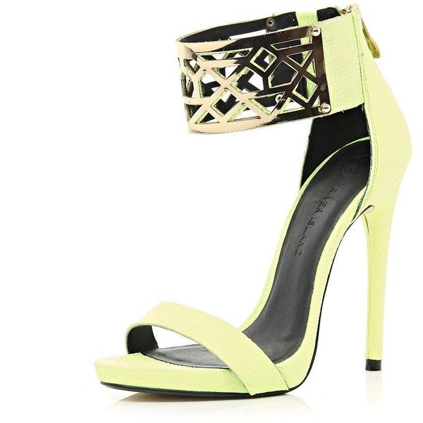 River Island Lime metal cuff barely there sandals found on Polyvore