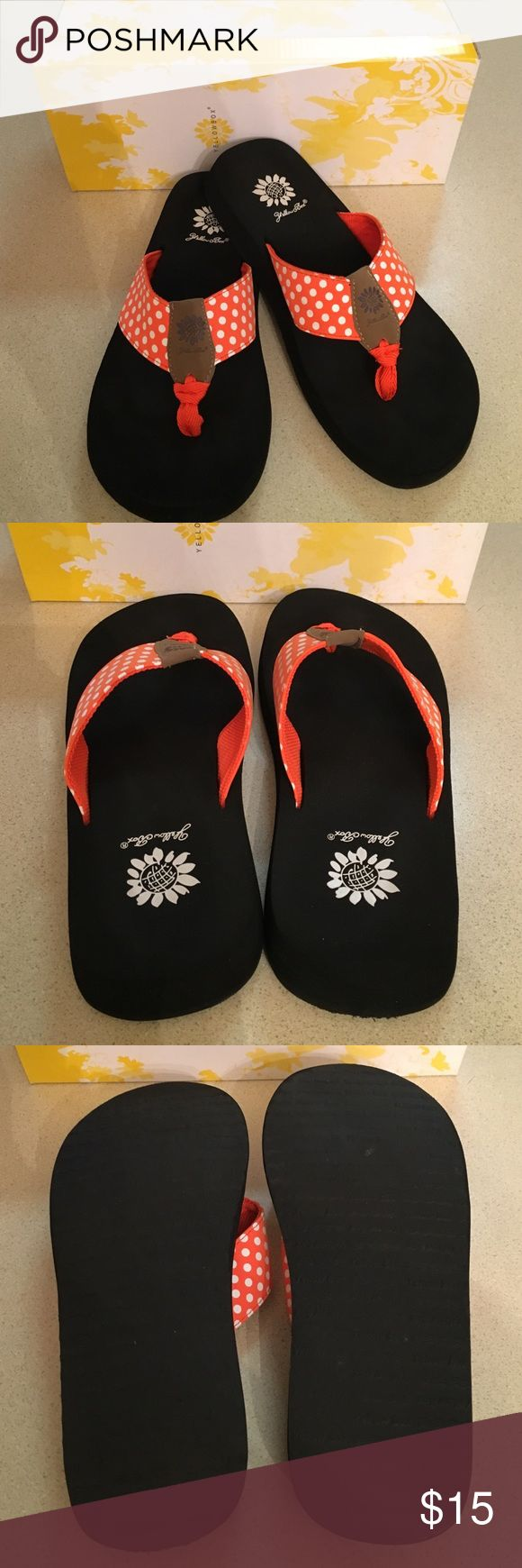 Yellow Box Flip Flops Clemson Orange Worn once! Like new! Includes box. Yellow Box Shoes