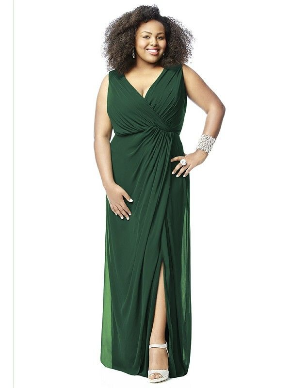 Dessy Lovelie 9006 Bridesmaid Dress.  This sleeveless full-length gown in Lux Chiffon wraps around a plus size figure stylishly. The loosely ruched surplice bodice has a V-neckline and a high back. The long skirt is draped at one side and flows in silky layers, with a provocative slit.