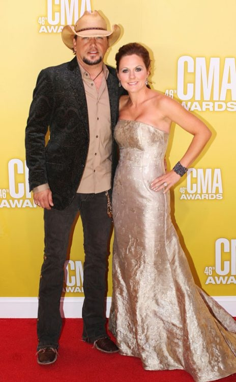 Jason Aldean and wife Jessica on the red carpet at the 2012 CMA Awards