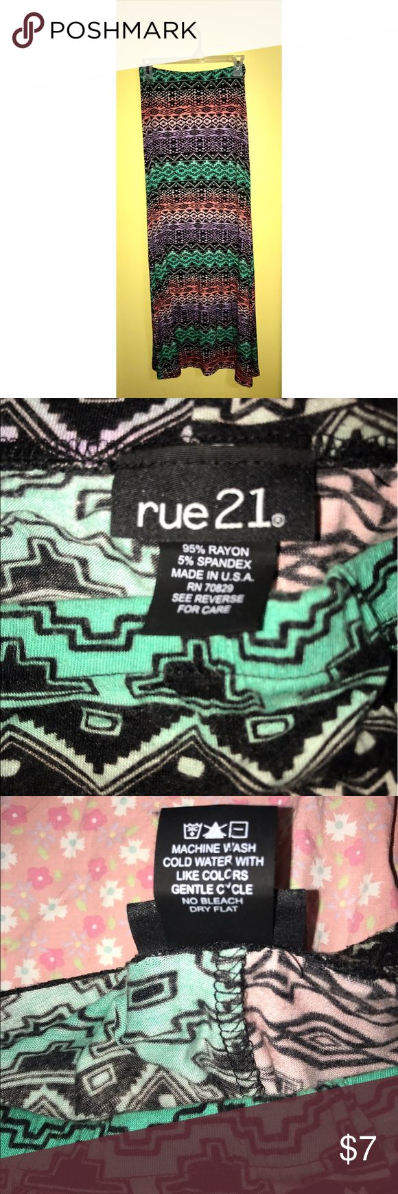 Rue21 Tribal Maxi Skirt Teal, red, and purple tribal-patterned maxi skirt from Rue21 in size medium. Rue 21 Skirts Maxi