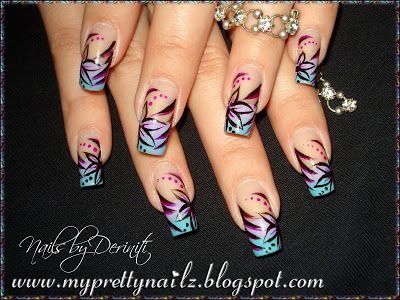 84 best my nail designs images on pinterest nail art designs my pretty nailz ombre french tips with hand painted flowers nail art design video prinsesfo Choice Image