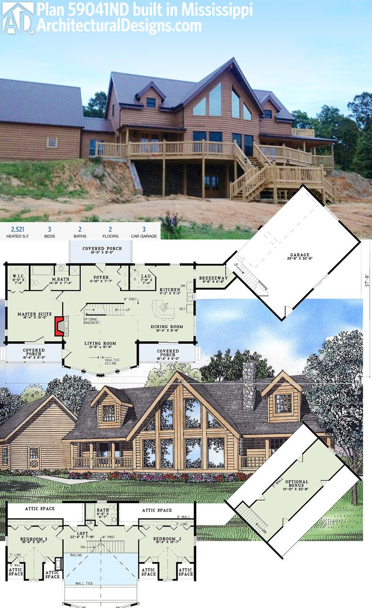 Our Client Built Architectural House Plan 59041ND In Reverse On A Walkout  Basement In Mississippi.