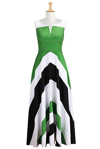 I <3 this Chevron stripe colorblock maxi dress from eShakti