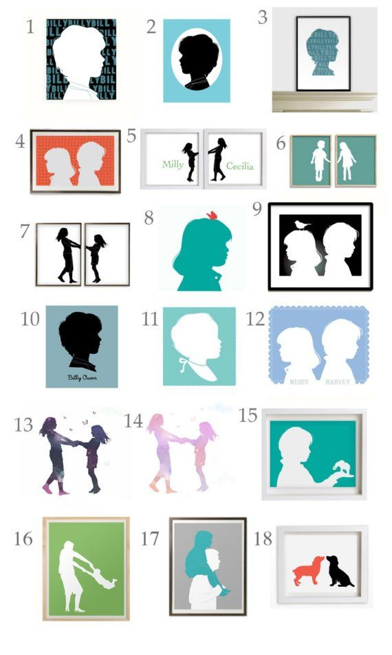 I made dozens of these silhouettes years ago for a marketing project ... I really should make some of my girls. I love the two sisters as two framed images and the children back to back (with the bird on the head of one ... that would be Robyn!)