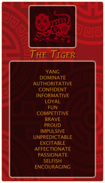 Chinese Signs: Tiger - Register at our site and find out your Chinese animal sign!http://bit.ly/1dqeH58