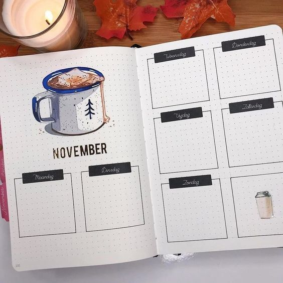 15 November Bullet Journal Cover und Layout Inspiration  – Gotta be school motivated