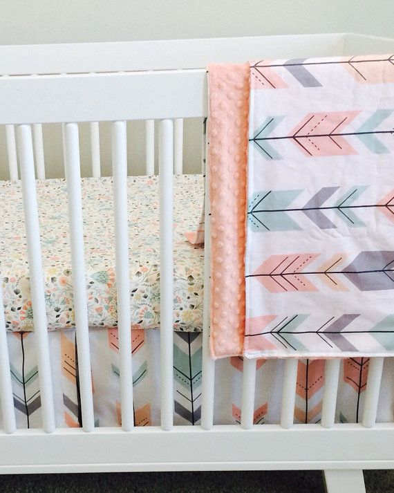 baby girl room handmade gift 3 piece set ready to ship blush mint coral gray by stitchave