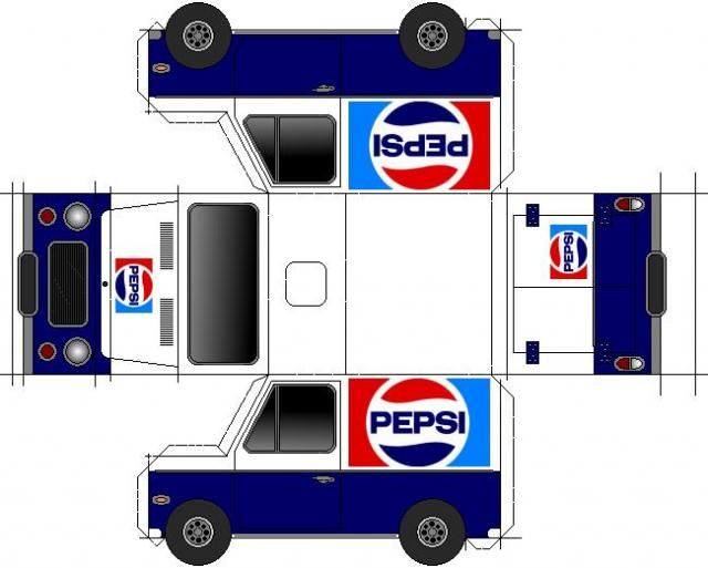Pepsi-Cola Van Paper Model - by Papermau - Download Now! - == -  A simple Pepsi-Cola Van paper model in only one sheet of paper.