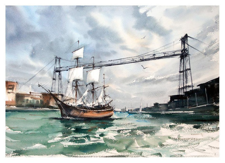 """The Endeavour"", watercolour by Michal Jasiewicz, Poland.SOLD / VENDIDO"