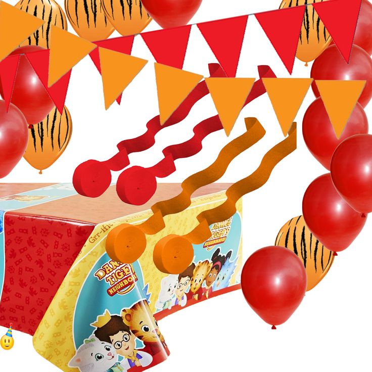 Daniel Tiger Tablecover, Balloons, Streamers, Pennant Flag Banners