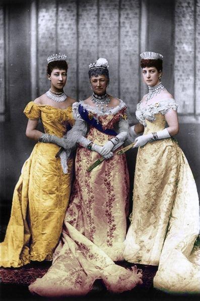 Queen Alexandra (wearing the Russian Kokoshnik Tiara), with her daughter Louise, Princess Royal (far left wearing the Fife Tiara) and mother Queen Louise of Denmark, all wearing tiaras.