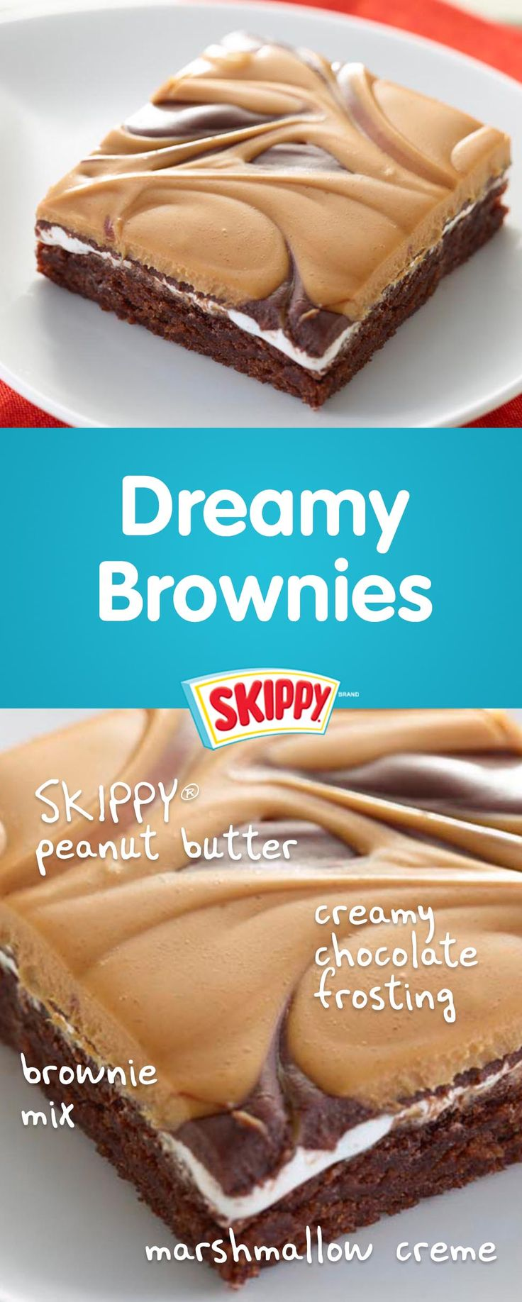 Pinch me. These  brownies are dreamy. |  SKIPPY® Peanut Butter |  holiday baking | peanut  butter bars | peanut butter  brownies