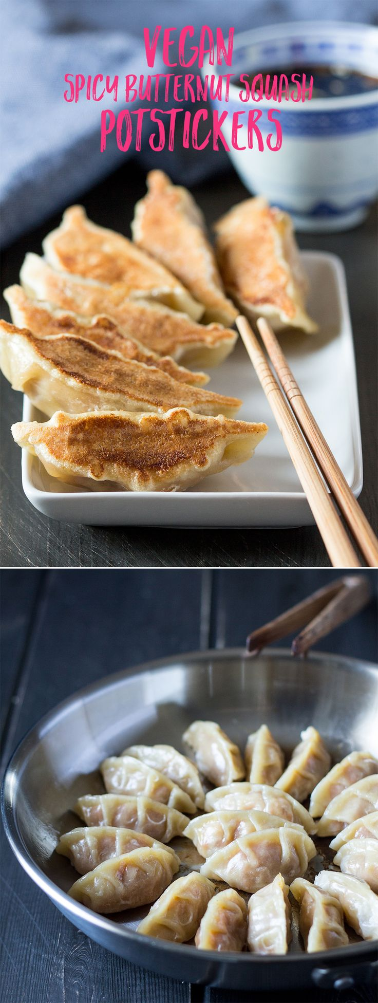 Who does not like #chinese #potstickers with #crispy undersides and #delicious #filling? These beauties are #vegan and contain a #spicy #butternutsquash filling. To die for! #recipe #recipes #lunch #dinner #pumpkin #vegetarian #dumplings