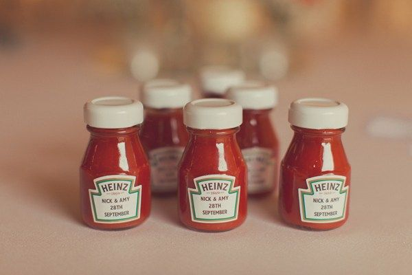 Personalise ketchup bottle favours, photographed by Raccoon London