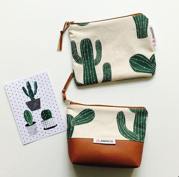 Tasche mit Kaktus Motiven, Kosmetiktasche, Dschungel / perfect for urban jungle: cosmetic bag with cactus print made by AniMoh via DaWanda.com