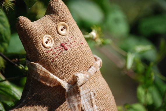 Blonde Folk Art Cat Pillow   Figural Cat Button Eyes      by 7east