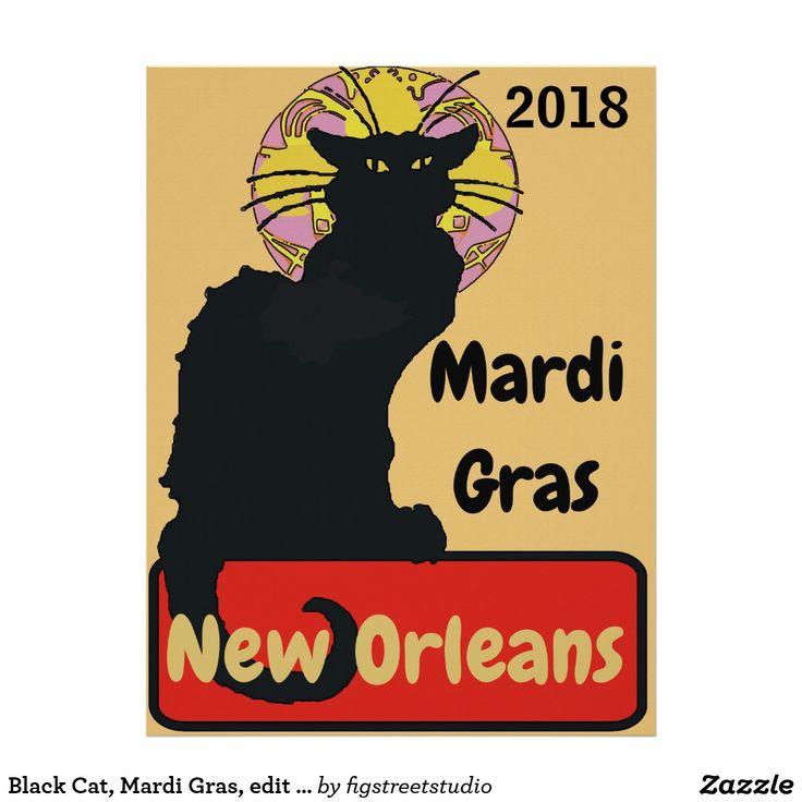 Black Cat, Mardi Gras, edit text Poster