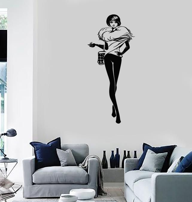 Vinyl Decal Fashion Girl Room Style Shopping Woman Wall Stickers (ig2954)