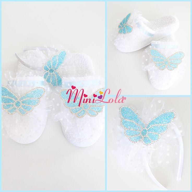 Beyaz puantiye tüllü mavi kelebek taşlı süslü lohusa seti