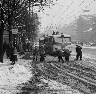 Praha zima - Václavské náměstí, 60.léta