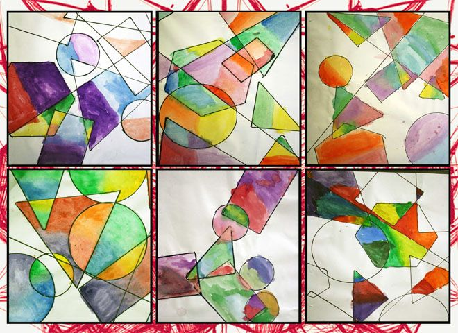 artisan des arts: color wheel activity - geometric overlapping shapes filled with analogous colours