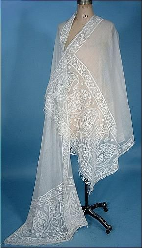 c. 1810 - 1820 Early 19th Century Ayrshire Embroidered Whitework Muslin Stole