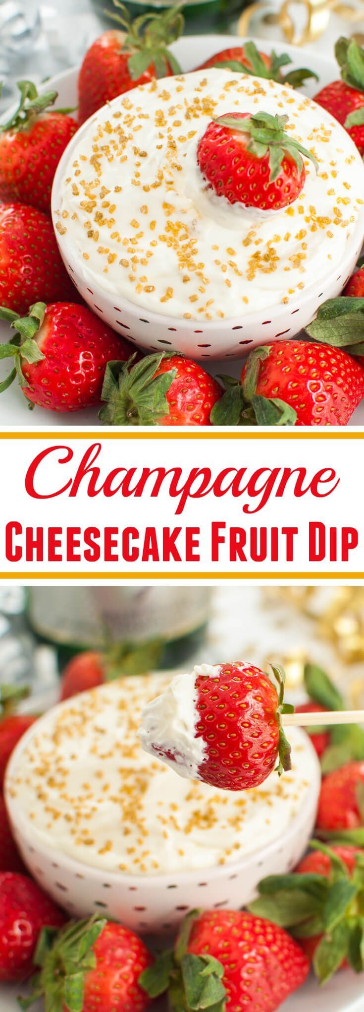 4 ingredient boozy dessert! Champagne cheesecake fruit dip is perfect with strawberries for a bridal shower, special occasions, girls night or adult party.