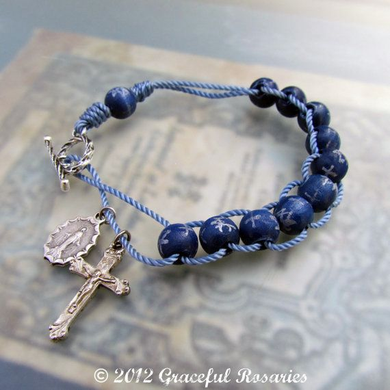 Catholic Rosary Bracelet Sliding Wood Rosary by GracefulRosaries
