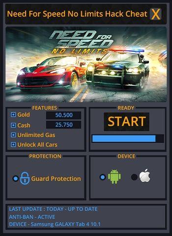Bienvenue sur notre site. Si vous êtes à la recherche pour Need for Speed No Limits de triche et que vous souhaitez obtenir des objets illimités? Avec l'outil de générateur va générer des illimitée or, argent liquide, gaz, nitro et obtenir toutes les voitures.