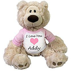 "Personalized Valentine Teddy Bear - 12"" Beige Gund Philbin Bear"