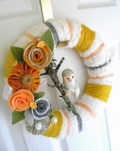 Winter wreath idea. Light blue instead of mustard, silver or gray instead of orange.