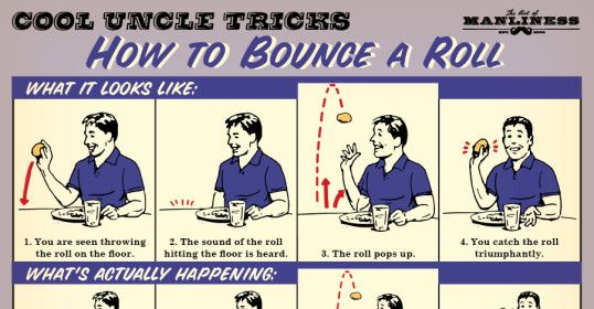Cool Uncle Tricks: How to Bounce a Dinner Roll I'd do this with Bushman bread at Outback just for S & G's.